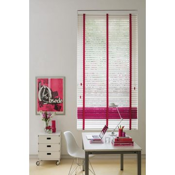 White ladder tape basswood window blinds