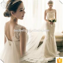 2016 Venta caliente elegante blanco encaje sirena vestidos de novia baratos