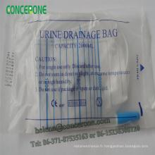Sac d'urine adulte jetable 1000ml / 1500ml / 2000ml avec l'emballage de PE