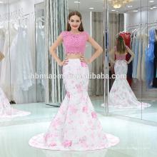 2017 bedruckter Rock mit geschnürter Spitze sleevless geschnürte rückenfreie rosa Farbe zwei Stück Abendkleid für Braut Hochzeit und Party