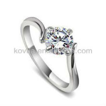 Simple design 925 sterling silver CZ rings jewelry single stone finger ring