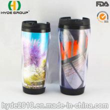 Venta caliente doble pared vaso de plástico con papel insertado