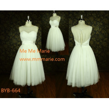 Latest Elegant see-through back A-line strapless China custom made A-line short wedding dress BYB-664