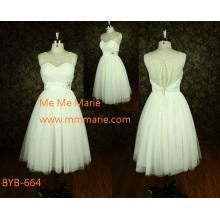Ultimas Elegantes vistas transparentes A linha Strapless China Custom made A-line vestido de casamento curto BYB-664