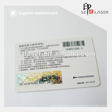 Hologram scratch card label with letter printing