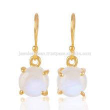 Gorgeous Rainbow Moonstone Prom conjunto de piedras preciosas 925 plata de oro Vermeil joyas