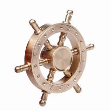 2017 Novo projeto de ouro de latão sólido Rudder Fidget Spinner Toy Finger Hand Fidget Spinner