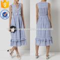 Blue Cotton Embroidered Summer Dress Manufacture Wholesale Fashion Women Apparel (TA4077D)