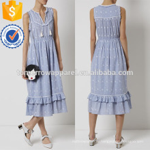 Синий хлопок вышитые летние платья Производство Оптовая продажа женской одежды (TA4077D)