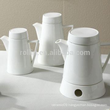 2014 elegant design white fine porcelain coffee pot, tea pot and warmer
