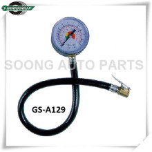 Plastic Dial Type Tire Gauge with flexible hose, Single-head dial type tire pressure gauge