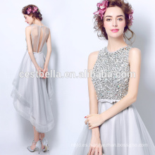 Cuello de cuentas rebordeados de espaguetis de longitud de la cintura de los vestidos de novia de la dama de honor