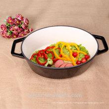 Глянцевая черная овальная кастрюля Блюдо Эмалированная чугунная посуда