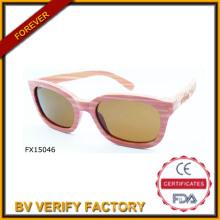 Comercial de alibaba aseguramiento 2015 rosa madera las gafas de sol (FX15046)