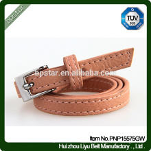 PU Women Belt para Lady Dress Jeans Strap Cintos Skinny Moda Brown Thin Wholesale Factory