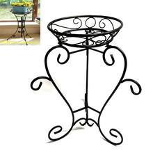 Black Metal Ground Decoration Linellae Flowerpot Rack Craft pour la maison