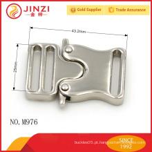 Liga de zinco personalizado níquel cor high end saco fechadura fivela