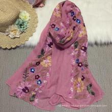 Moda nueva llegada mejor venta popular de tejer 100 mujeres viscosas florales de algodón bufanda señora Embrodiery bufanda