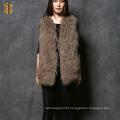 Gambá de pele real mongol feminino Gilet feminino de peles para meninas