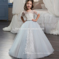 2017 latest design Embroidered pricess baby girl wedding dress simple design laced flower girl dress muslim