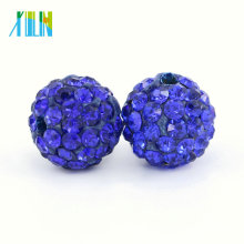 High Quality Round Clay Shamballa Rhinestone Pave Crystal Beads for Wedding Dress , IB00112 - Sapphire