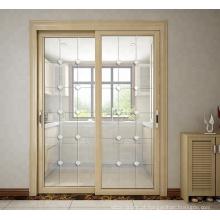 Projeto de portas deslizantes de alumínio pattens grade elegante na cozinha