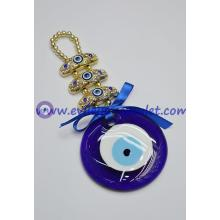 Glass Evil Eye Home Protector -Gold Hanging Head