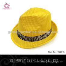 Chapeau Fedora promotionnel chapeau jaune 100 polyester PP avec logo personnalisé