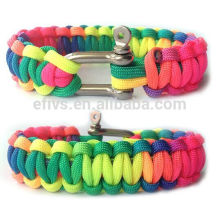 Eco-Friendly Rainbow Paracord Survival Bracelet with Stainless Steel D Shackle