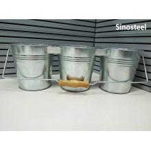 3 Set of Circular Galvanized Metal Bucket