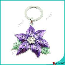 Lila Emaille Legierung Metall Blume Schlüsselanhänger (KC)