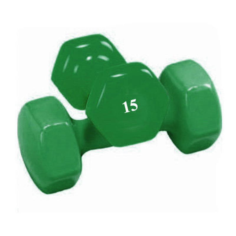 15 LB Vinyl Hex Dumbbell
