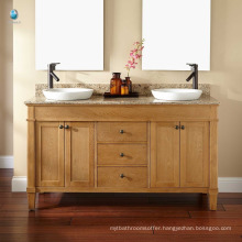 Luxury marble counter hotel bathroom floor cabinet/ double ceramic basin oak vanity