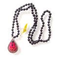 Стерлингового Серебра Падение Вышивки Лавы Кулон Ожерелье Из Бисера