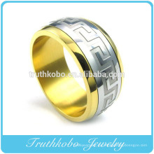 Noble elegante 18k chapado en oro al por mayor de joyería de acero inoxidable para hombre anillo TKB-R121