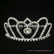 Nuevos peines del pelo de la corona del Rhinestone blanco del corazón de la forma del estilo nuevo mini