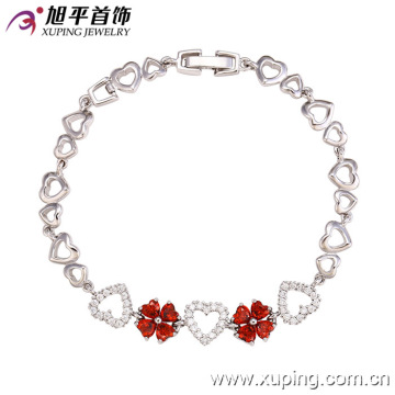 72803 Fashion Elegant Heart-Shaped CZ Diamond Imitation Jewelry Bracelet for Women