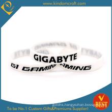 Customized Logo Promotional White Rubber Silicone Wristband Silicon Bracelet From China