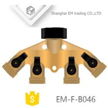 EM-F-B046 Messing 4-Wege Verteiler mit Gewindeausgängen