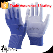 SRSAFETY 13 Gauge knitted polyester liner coated thin PU on palm safety working gloves, cheap working gloves.