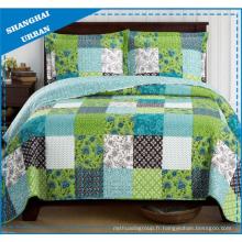 Ensemble de couvre-lit de style patchwork en polyester imprimé ombre verte