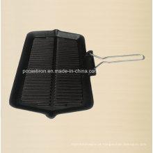 Frypan antiaderente de ferro fundido com alça de metal