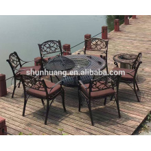 Patio chairs cast iron dining sets with BBQ round table