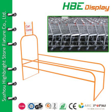 custom made grocery store parking corral for shopping cart and shopping basket trolley