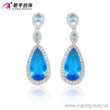 29910 Fashion Elegant Heart CZ Diamond Rhodium -Plated Pendiente de la joyería de imitación Pendiente