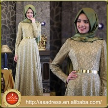 ATE12 High Neck Long Sleeve Abaya Dubai Kaftan Green and Pink Lace Muslim Party Dress Gown with Hijab