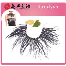 venta caliente hecha a mano de la vendimia sexy camisa babero jeweled collar de plumas de alta calidad con cuentas falsas al por mayor