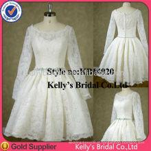 2014 feito à medida de boa qualidade l Joelho de comprimento A linha vestido de casamento vestido de dama de dama de renda