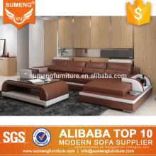 luxo l forma italiano top couro de grãos sofás fabricantes de móveis em guangzhou