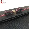 Clássico preto bolsa de couro genuíno embreagem com corrente